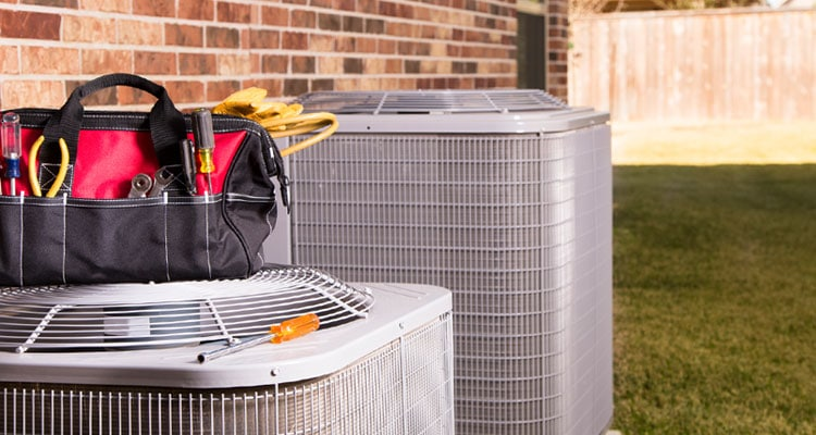 HVAC AC unit and tools small