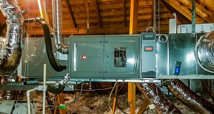 AC unit installed in the attic small