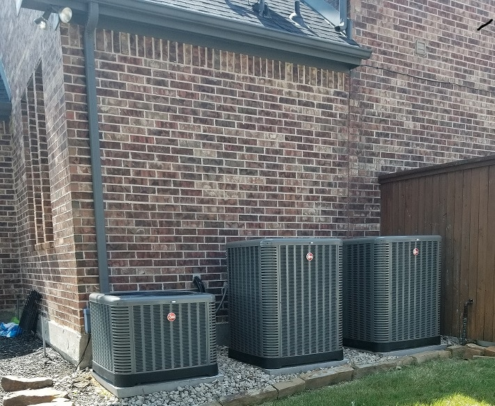 Local air conditioning units in residential area