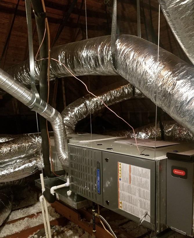 Furnace heating system inside a house